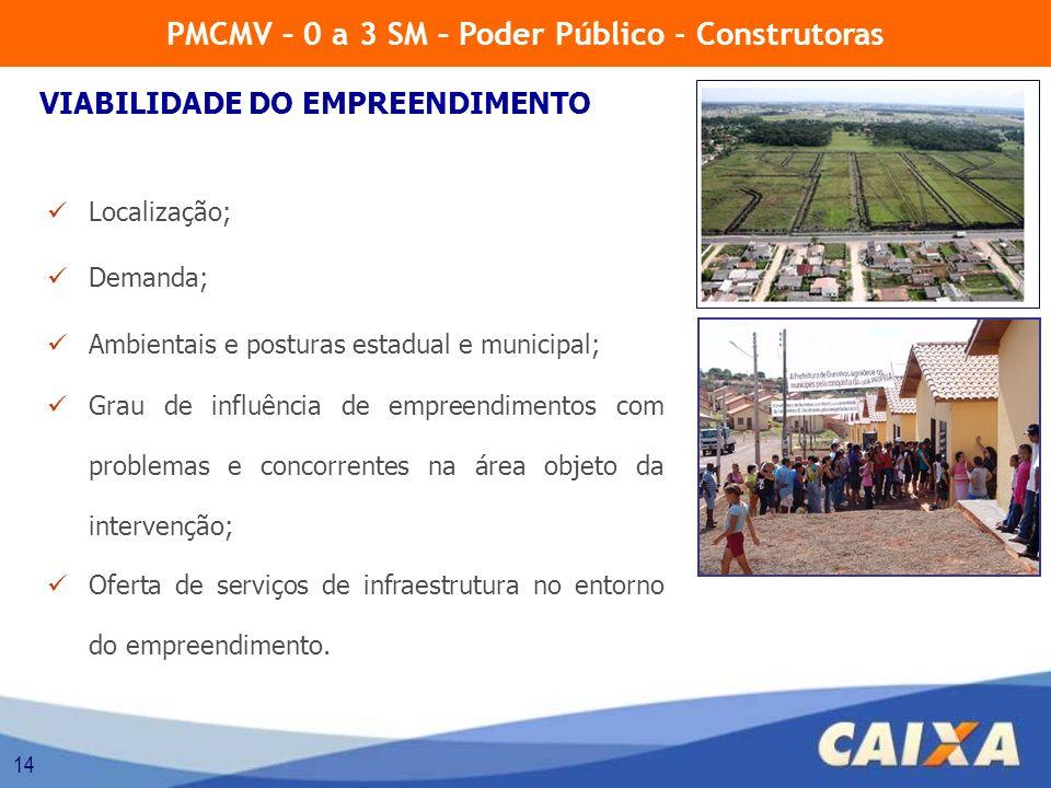 14 Localização; Demanda; Ambientais e posturas estadual e municipal; Grau de influência de empreendimentos com problemas e concorrentes na área objeto