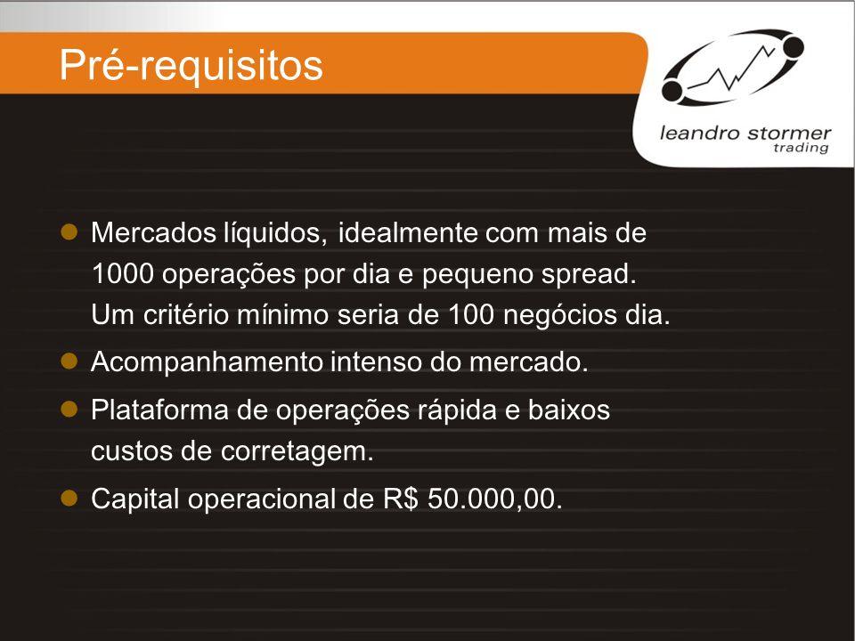 Pré-requisitos Mercados líquidos, idealmente com mais de 1000 operações por dia e pequeno spread. Um critério mínimo seria de 100 negócios dia. Acompa