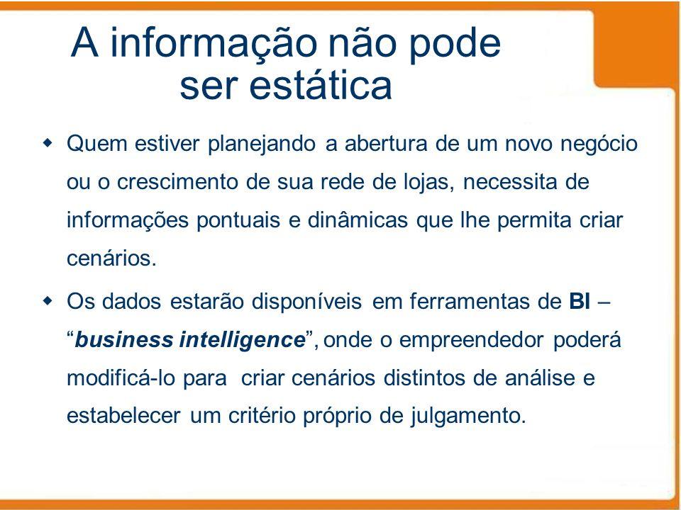 A informação não pode ser estática Quem estiver planejando a abertura de um novo negócio ou o crescimento de sua rede de lojas, necessita de informaçõ