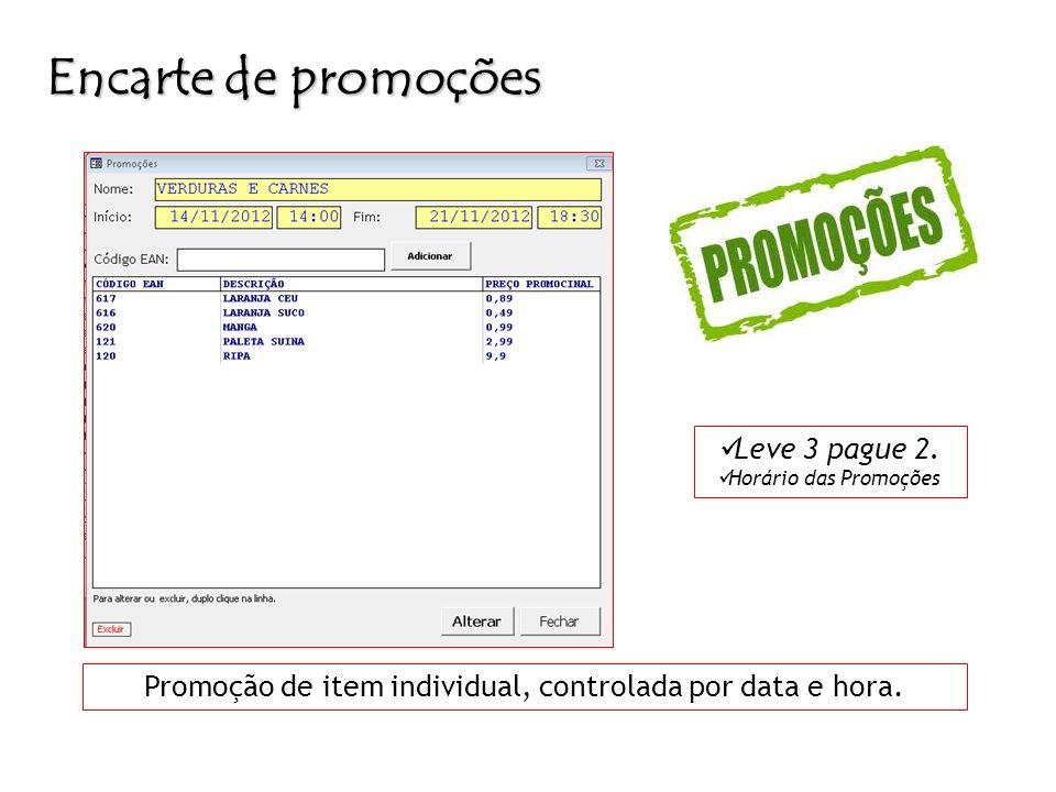 Encarte de promoções Promoção de item individual, controlada por data e hora. Leve 3 pague 2. Horário das Promoções