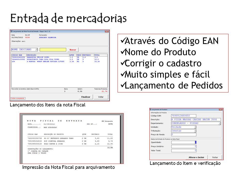 Entrada de mercadorias Cadastro de Produtos Lançamento dos Itens da nota Fiscal Lançamento do Item e verificação Através do Código EAN Nome do Produto