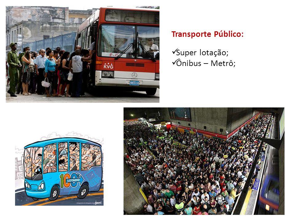 Transporte Público: Super lotação; Ônibus – Metrô;