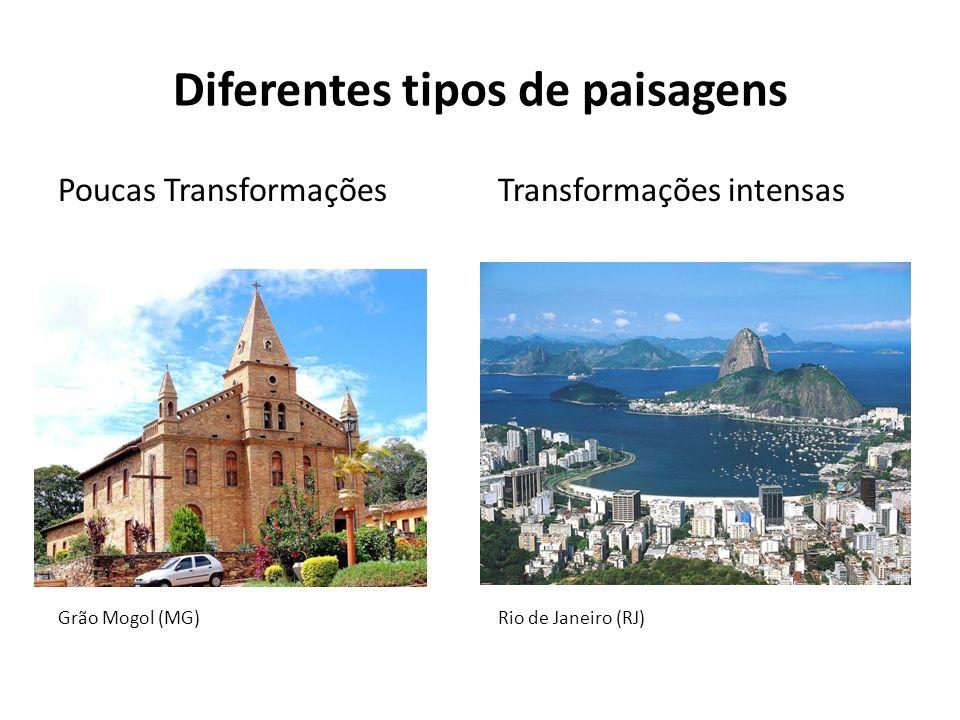 Diferentes tipos de paisagens Poucas Transformações Grão Mogol (MG) Transformações intensas Rio de Janeiro (RJ)