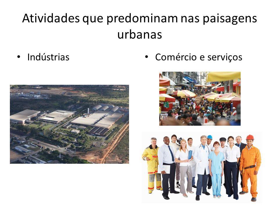 Atividades que predominam nas paisagens urbanas Indústrias Comércio e serviços