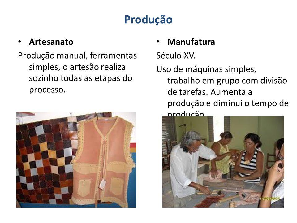 Produção Artesanato Produção manual, ferramentas simples, o artesão realiza sozinho todas as etapas do processo.
