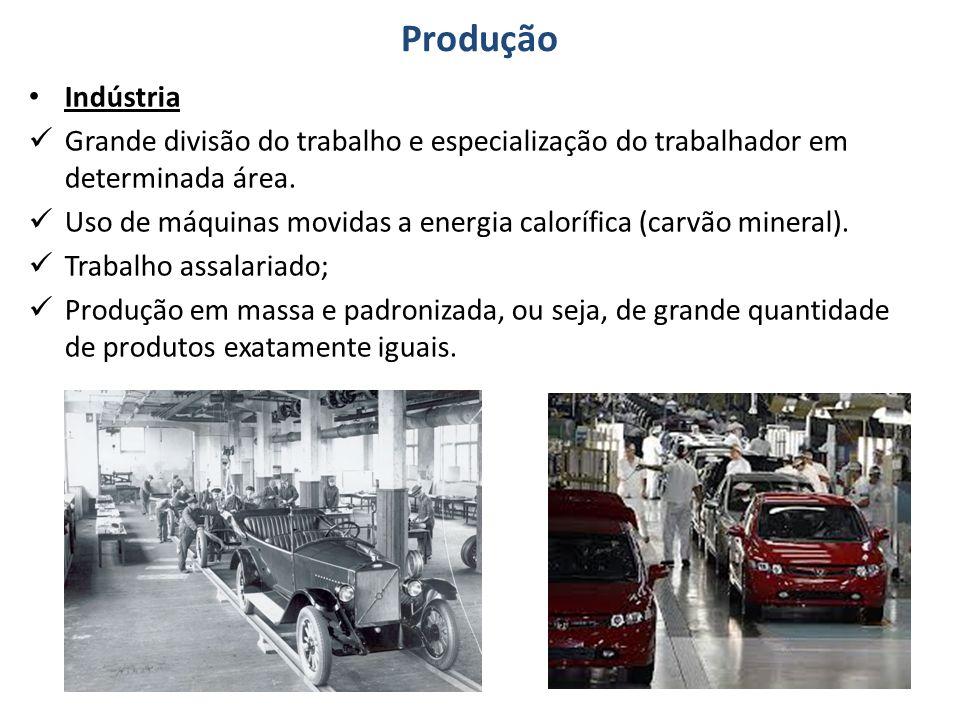 Produção Indústria Grande divisão do trabalho e especialização do trabalhador em determinada área.