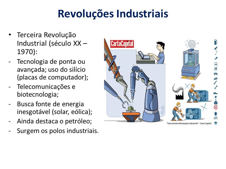 Revoluções Industriais Terceira Revolução Industrial (século XX – 1970): -Tecnologia de ponta ou avançada; uso do silício (placas de computador); -Telecomunicações e biotecnologia; -Busca fonte de energia inesgotável (solar, eólica); -Ainda destaca o petróleo; -Surgem os polos industriais.