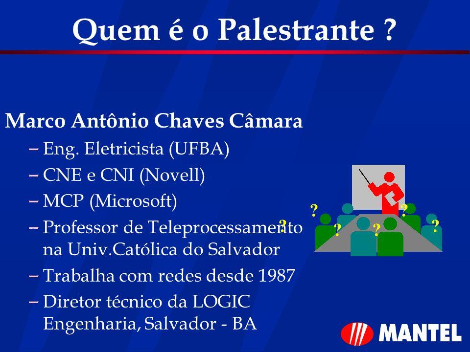 Quem é o Palestrante ? Marco Antônio Chaves Câmara – Eng. Eletricista (UFBA) – CNE e CNI (Novell) – MCP (Microsoft) – Professor de Teleprocessamento n