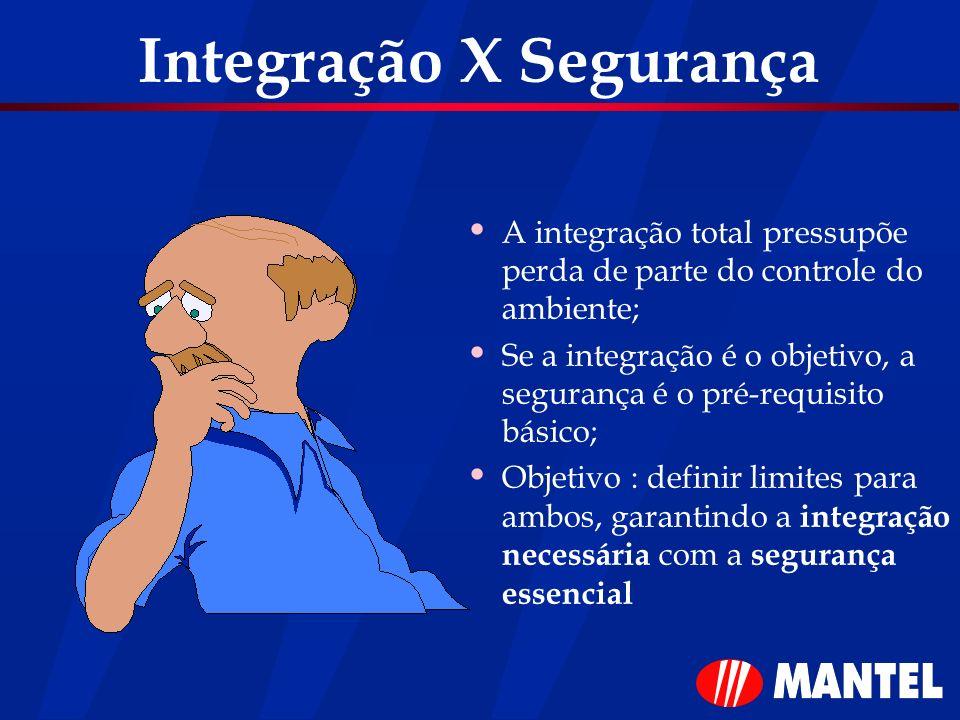 Integração X Segurança A integração total pressupõe perda de parte do controle do ambiente; Se a integração é o objetivo, a segurança é o pré-requisit