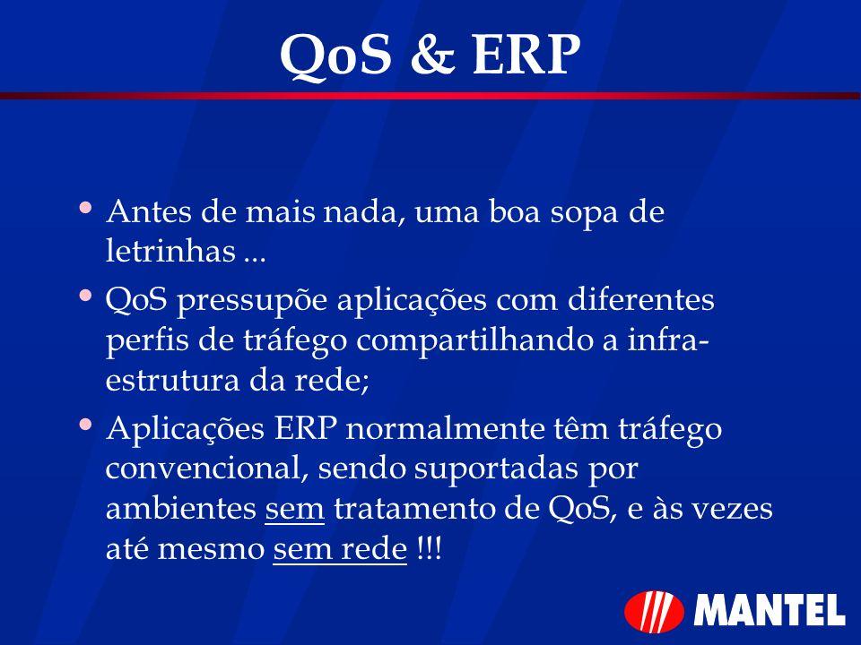 QoS & ERP Antes de mais nada, uma boa sopa de letrinhas... QoS pressupõe aplicações com diferentes perfis de tráfego compartilhando a infra- estrutura