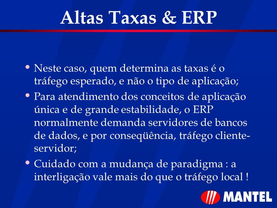 Altas Taxas & ERP Neste caso, quem determina as taxas é o tráfego esperado, e não o tipo de aplicação; Para atendimento dos conceitos de aplicação úni