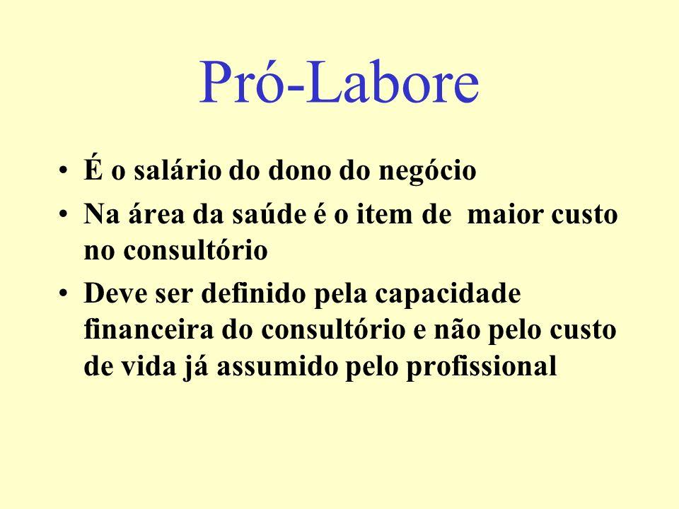 Pró-Labore É o salário do dono do negócio Na área da saúde é o item de maior custo no consultório Deve ser definido pela capacidade financeira do consultório e não pelo custo de vida já assumido pelo profissional