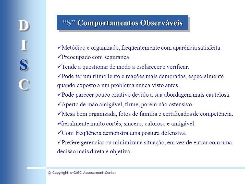 © Copyright e-DiSC Assessment Center Metódico e organizado, freqüentemente com aparência satisfeita. Preocupado com segurança. Tende a questionar de m