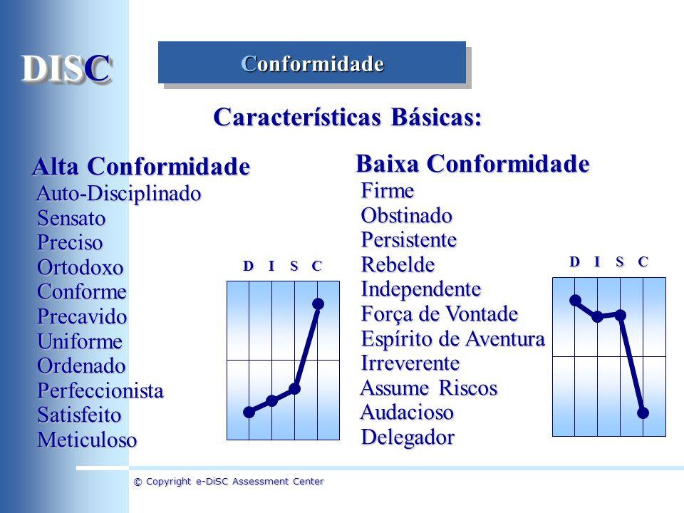 © Copyright e-DiSC Assessment Center Conformidade Alta Conformidade Auto-Disciplinado Auto-Disciplinado Sensato Sensato Preciso Preciso Ortodoxo Ortod