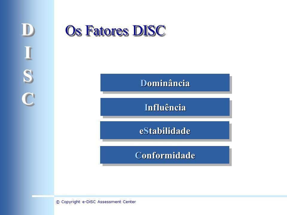 © Copyright e-DiSC Assessment Center Dominância Influência Conformidade eStabilidade Os Fatores DISC DISCDISC