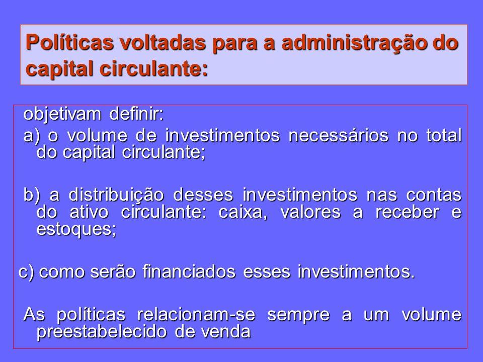 Políticas voltadas para a administração do capital circulante: objetivam definir: objetivam definir: a) o volume de investimentos necessários no total