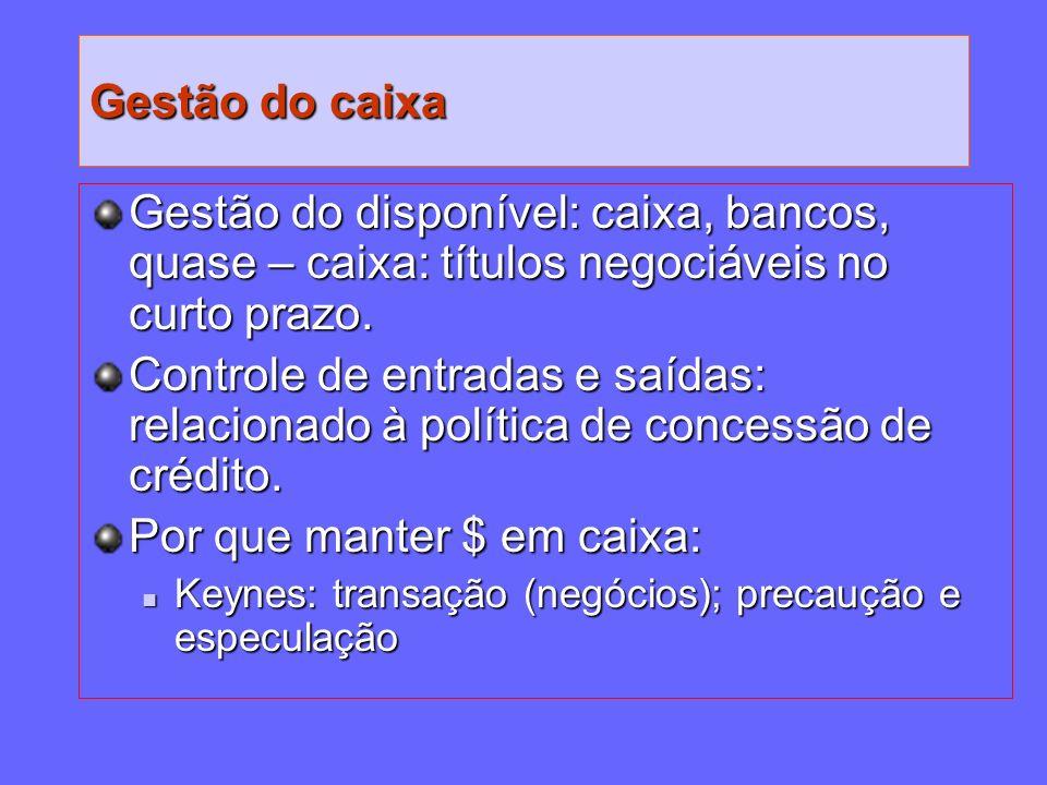 Gestão do caixa Gestão do disponível: caixa, bancos, quase – caixa: títulos negociáveis no curto prazo. Controle de entradas e saídas: relacionado à p