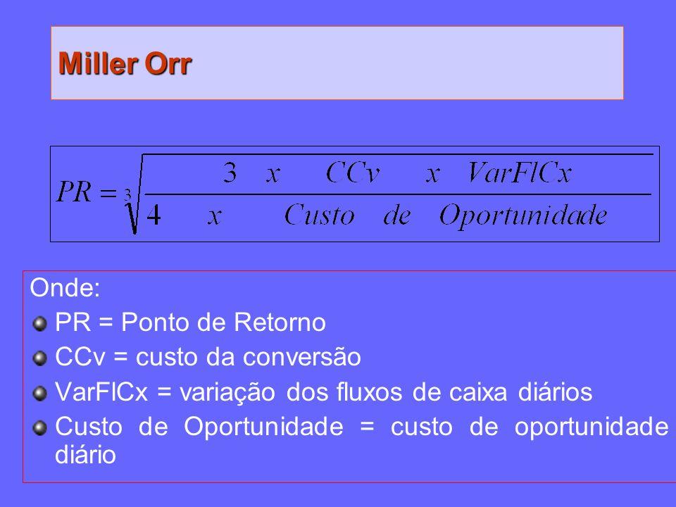 Miller Orr Onde: PR = Ponto de Retorno CCv = custo da conversão VarFlCx = variação dos fluxos de caixa diários Custo de Oportunidade = custo de oportu