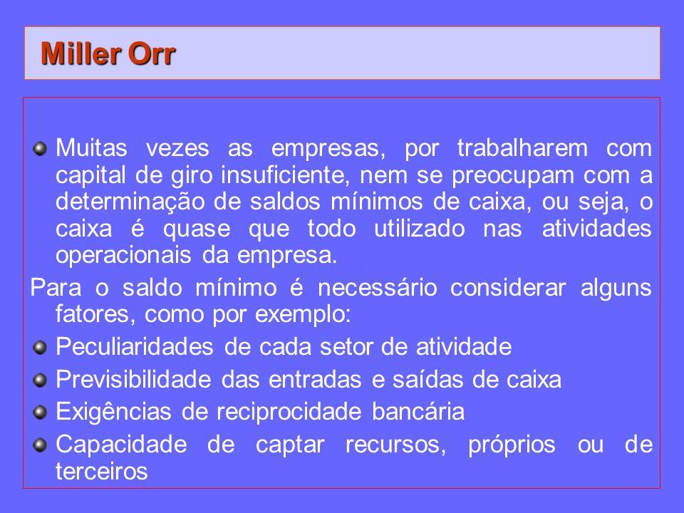 Miller Orr Miller Orr Muitas vezes as empresas, por trabalharem com capital de giro insuficiente, nem se preocupam com a determinação de saldos mínimo
