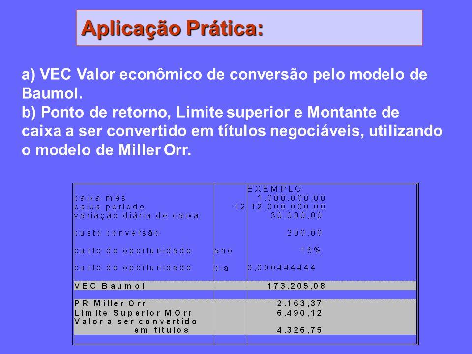 Aplicação Prática: a) VEC Valor econômico de conversão pelo modelo de Baumol. b) Ponto de retorno, Limite superior e Montante de caixa a ser convertid