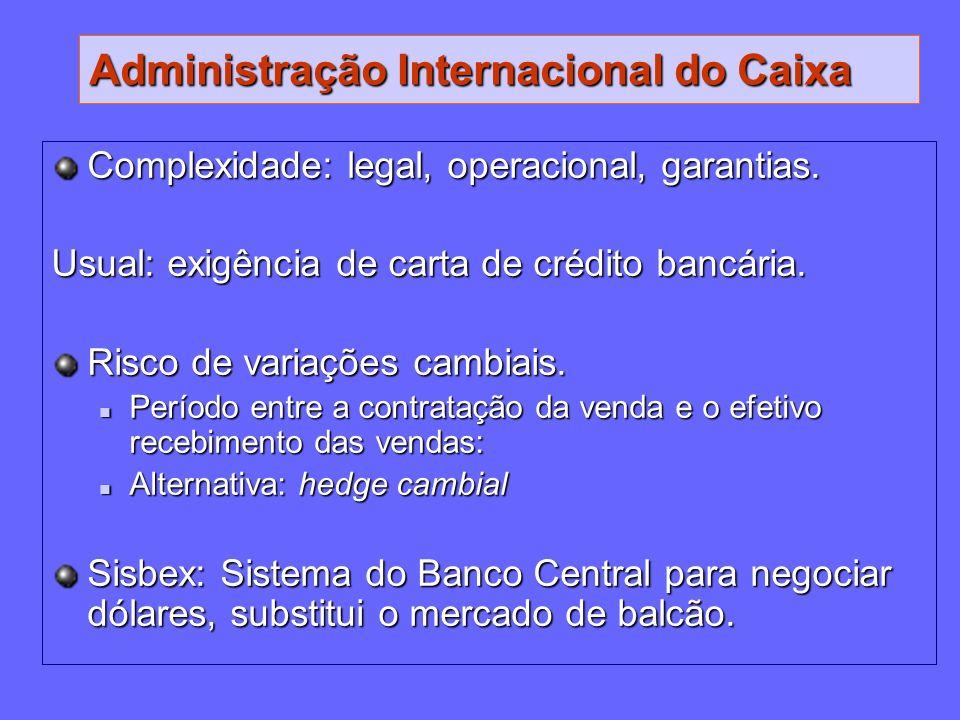 Administração Internacional do Caixa Complexidade: legal, operacional, garantias. Usual: exigência de carta de crédito bancária. Risco de variações ca