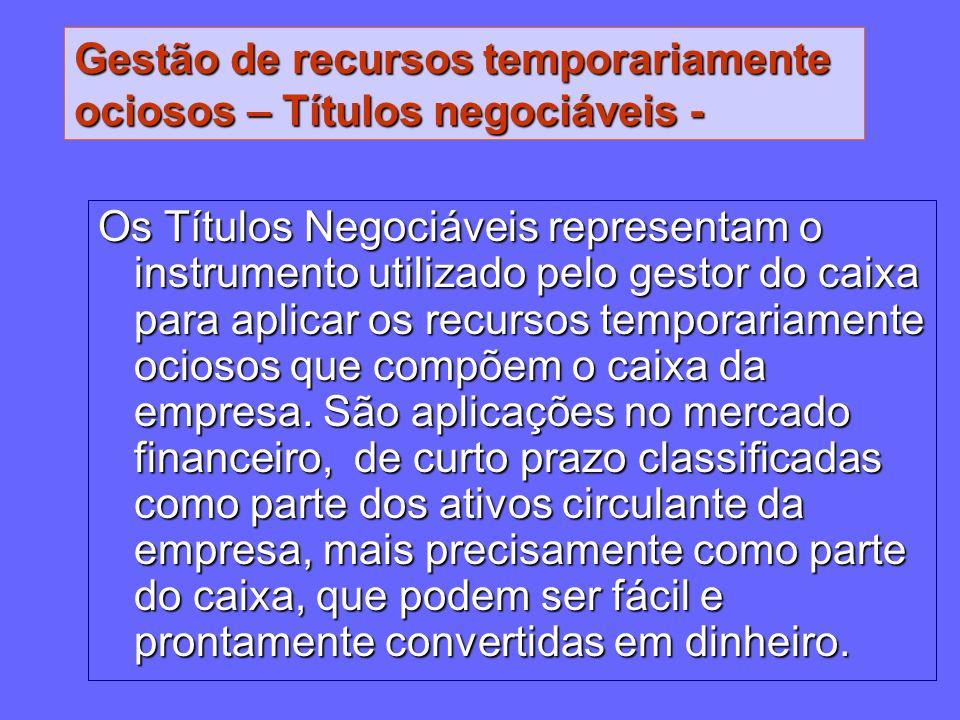 Gestão de recursos temporariamente ociosos – Títulos negociáveis - Os Títulos Negociáveis representam o instrumento utilizado pelo gestor do caixa par