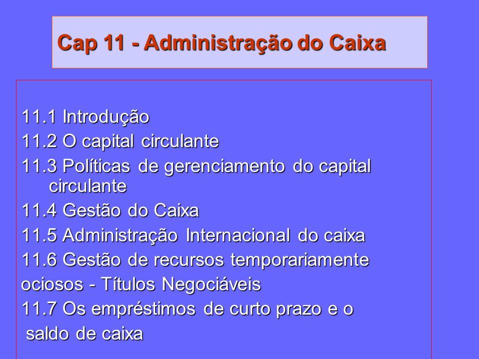 11.1 Introdução 11.2 O capital circulante 11.3 Políticas de gerenciamento do capital circulante 11.4 Gestão do Caixa 11.5 Administração Internacional