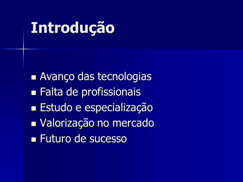 Introdução Avanço das tecnologias Avanço das tecnologias Falta de profissionais Falta de profissionais Estudo e especialização Estudo e especialização Valorização no mercado Valorização no mercado Futuro de sucesso Futuro de sucesso