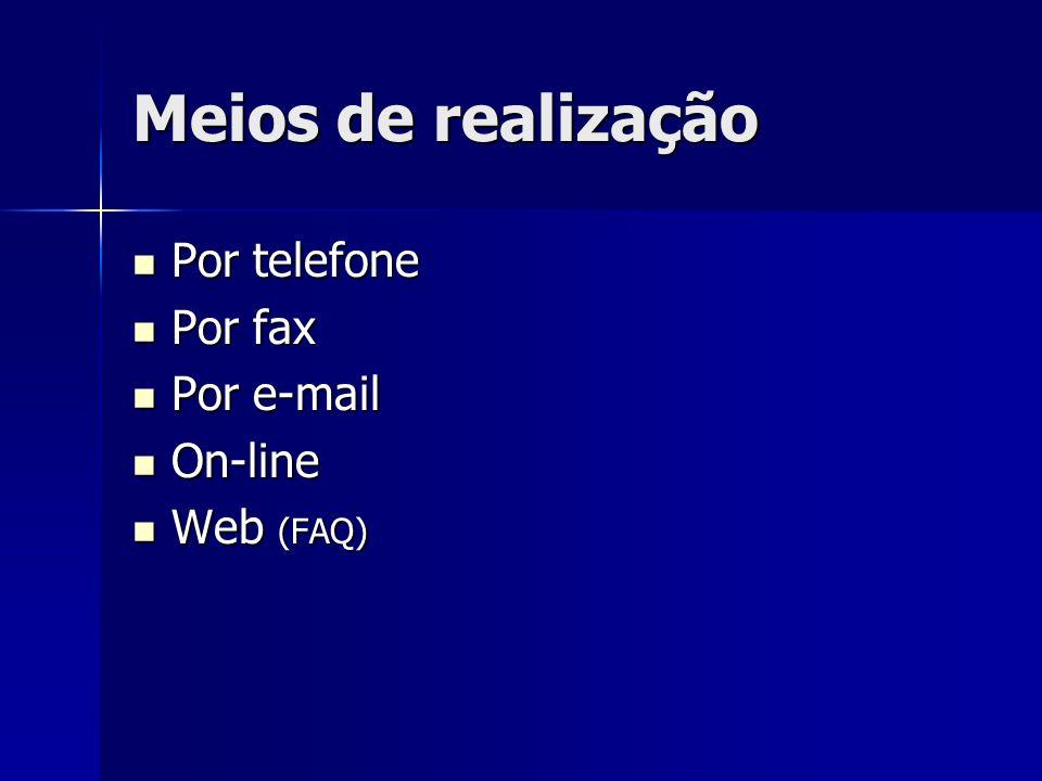 Meios de realização Por telefone Por telefone Por fax Por fax Por e-mail Por e-mail On-line On-line Web (FAQ) Web (FAQ)