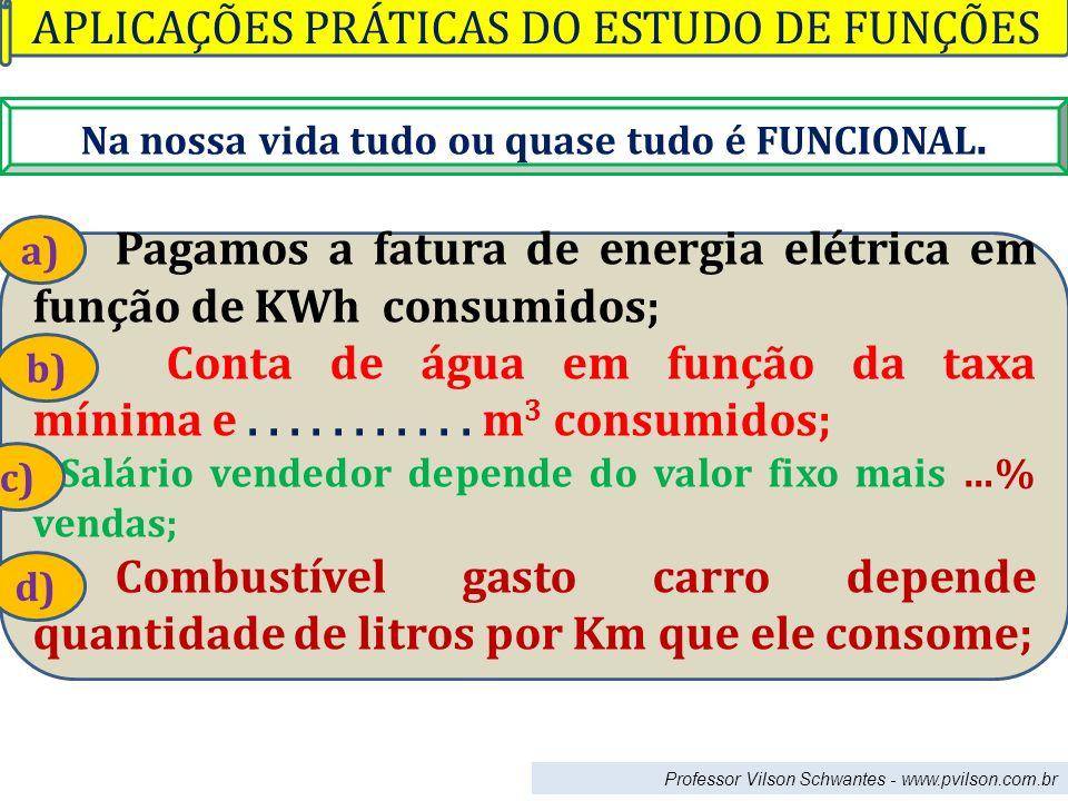 Professor Vilson Schwantes - www.pvilson.com.br Na nossa vida tudo ou quase tudo é FUNCIONAL. Pagamos a fatura de energia elétrica em função de KWh co