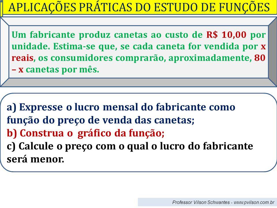 Professor Vilson Schwantes - www.pvilson.com.br Um fabricante produz canetas ao custo de R$ 10,00 por unidade. Estima-se que, se cada caneta for vendi