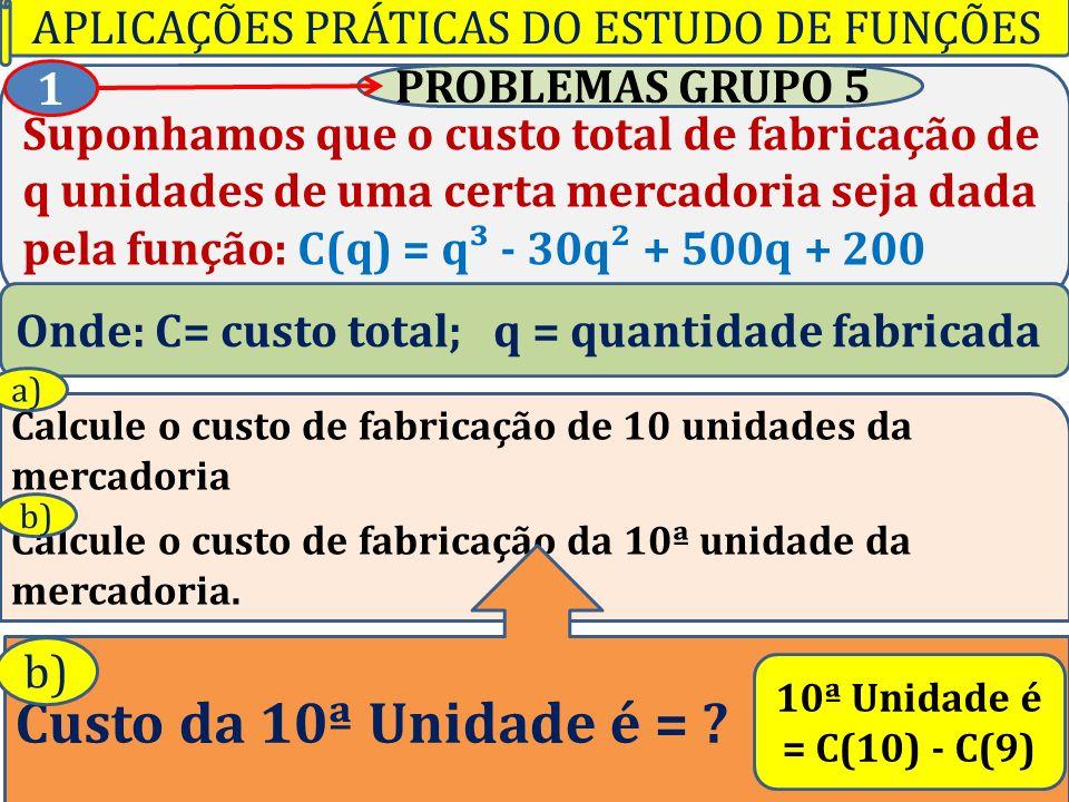 Professor Vilson Schwantes - www.pvilson.com.br Suponhamos que o custo total de fabricação de q unidades de uma certa mercadoria seja dada pela função: C(q) = q³ - 30q² + 500q + 200 PROBLEMAS GRUPO 5 1 Onde: C= custo total; q = quantidade fabricada Calcule o custo de fabricação de 10 unidades da mercadoria Calcule o custo de fabricação da 10ª unidade da mercadoria.