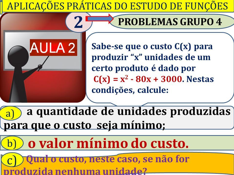 Professor Vilson Schwantes - www.pvilson.com.br PROBLEMAS GRUPO 4 2 Sabe-se que o custo C(x) para produzir x unidades de um certo produto é dado por C(x) = x 2 - 80x + 3000.