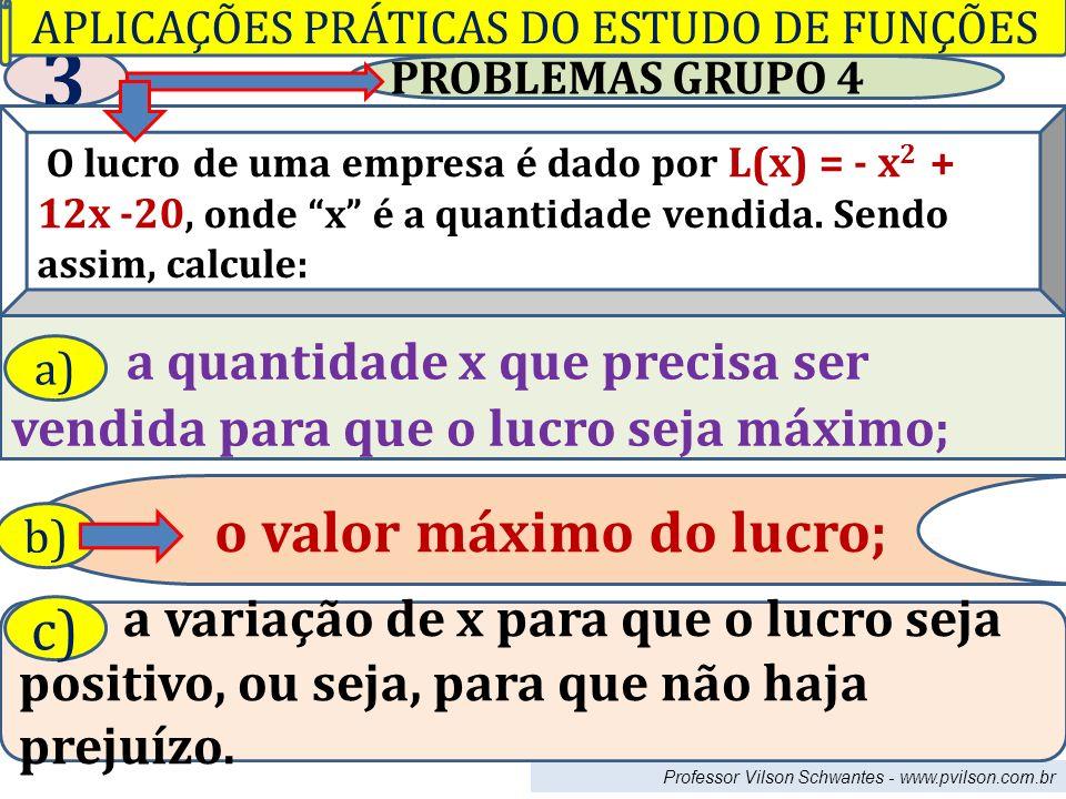 PROBLEMAS GRUPO 4 3 O lucro de uma empresa é dado por L(x) = - x 2 + 12x -20, onde x é a quantidade vendida. Sendo assim, calcule: a quantidade x que