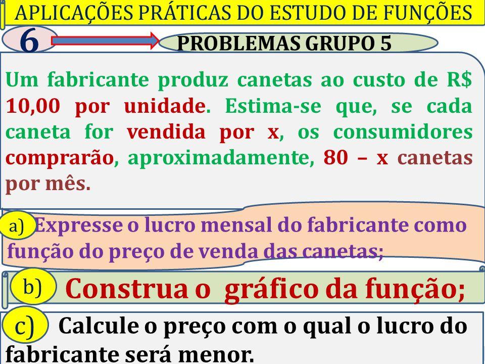 Professor Vilson Schwantes - www.pvilson.com.br PROBLEMAS GRUPO 5 Um fabricante produz canetas ao custo de R$ 10,00 por unidade.