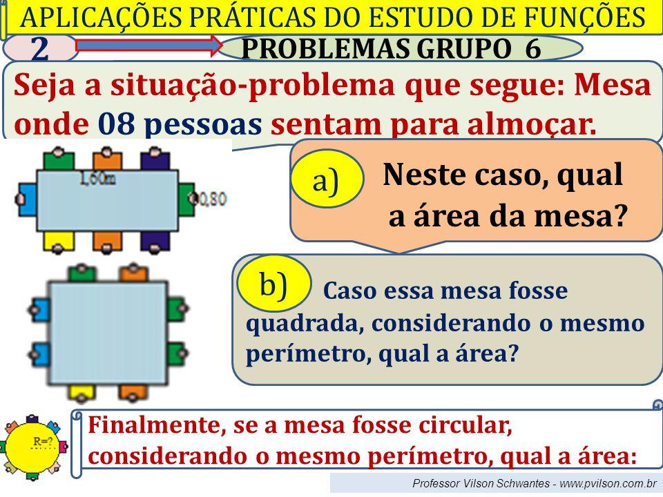 Professor Vilson Schwantes - www.pvilson.com.br PROBLEMAS GRUPO 6 2 Seja a situação-problema que segue: Mesa onde 08 pessoas sentam para almoçar.