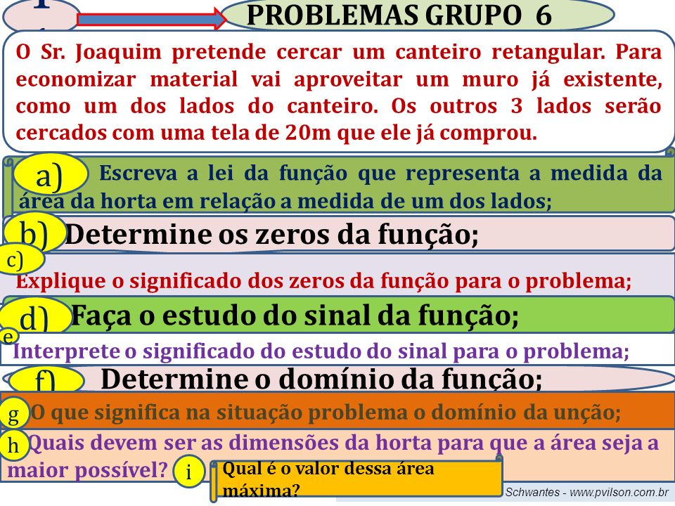 Professor Vilson Schwantes - www.pvilson.com.br PROBLEMAS GRUPO 6 1 O Sr.