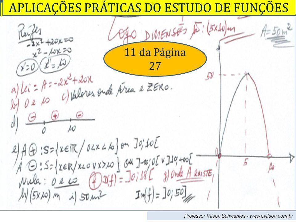 Professor Vilson Schwantes - www.pvilson.com.br APLICAÇÕES PRÁTICAS DO ESTUDO DE FUNÇÕES 11 da Página 27