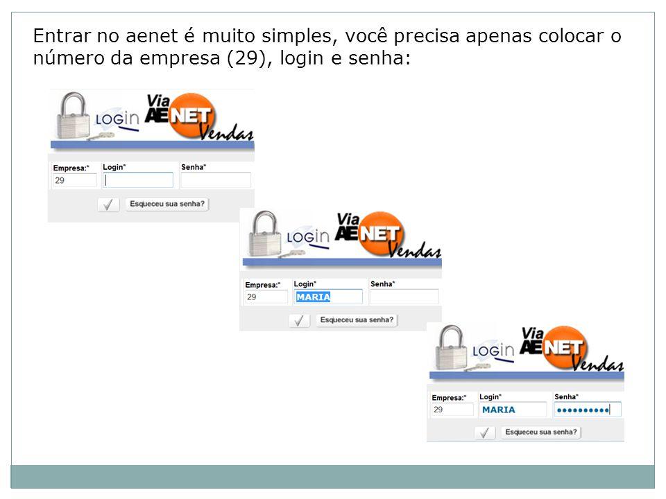 Entrar no aenet é muito simples, você precisa apenas colocar o número da empresa (29), login e senha: