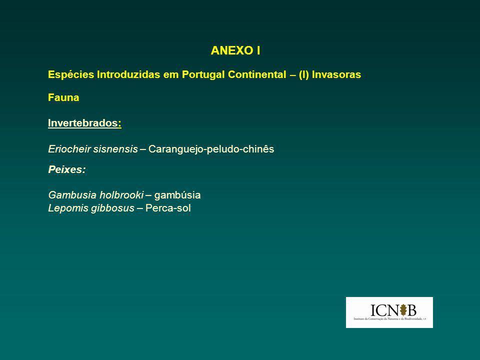 ANEXO I Espécies Introduzidas em Portugal Continental – (I) Invasoras Fauna Invertebrados: Eriocheir sisnensis – Caranguejo-peludo-chinês Peixes: Gamb