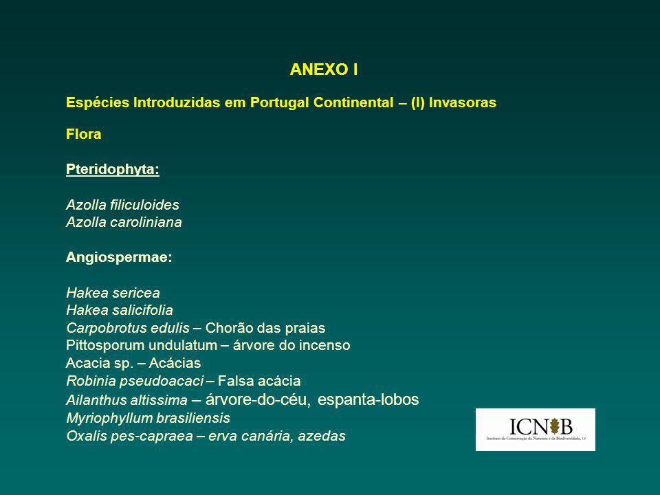 ANEXO I Espécies Introduzidas em Portugal Continental – (I) Invasoras Flora Pteridophyta: Azolla filiculoides Azolla caroliniana Angiospermae: Hakea s