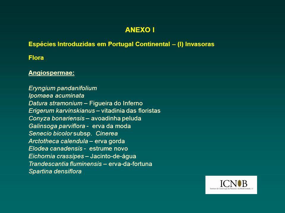 ANEXO I Espécies Introduzidas em Portugal Continental – (I) Invasoras Flora Angiospermae: Eryngium pandanifolium Ipomaea acuminata Datura stramonium –