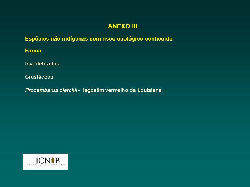 ANEXO III Espécies não indígenas com risco ecológico conhecido Fauna Invertebrados Crustáceos: Procambarus clarckii - lagostim vermelho da Louisiana