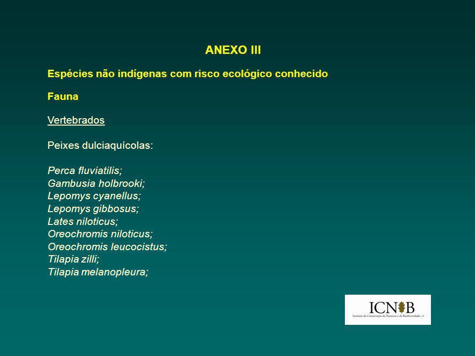 ANEXO III Espécies não indígenas com risco ecológico conhecido Fauna Vertebrados Peixes dulciaquícolas: Perca fluviatilis; Gambusia holbrooki; Lepomys