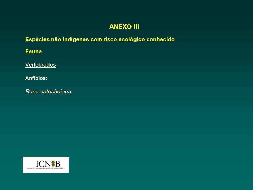 ANEXO III Espécies não indígenas com risco ecológico conhecido Fauna Vertebrados Anfíbios: Rana catesbeiana.