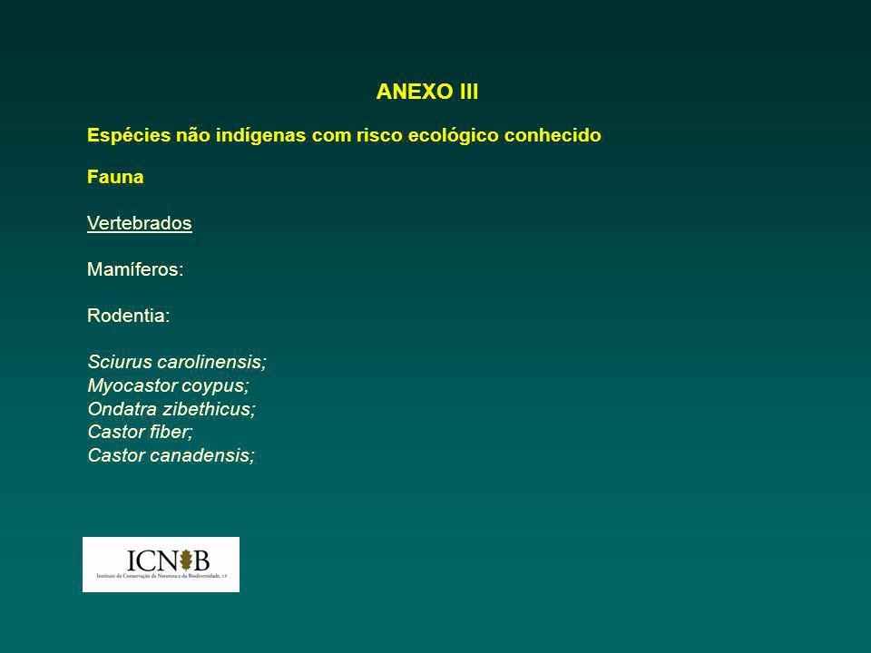 ANEXO III Espécies não indígenas com risco ecológico conhecido Fauna Vertebrados Mamíferos: Rodentia: Sciurus carolinensis; Myocastor coypus; Ondatra zibethicus; Castor fiber; Castor canadensis;