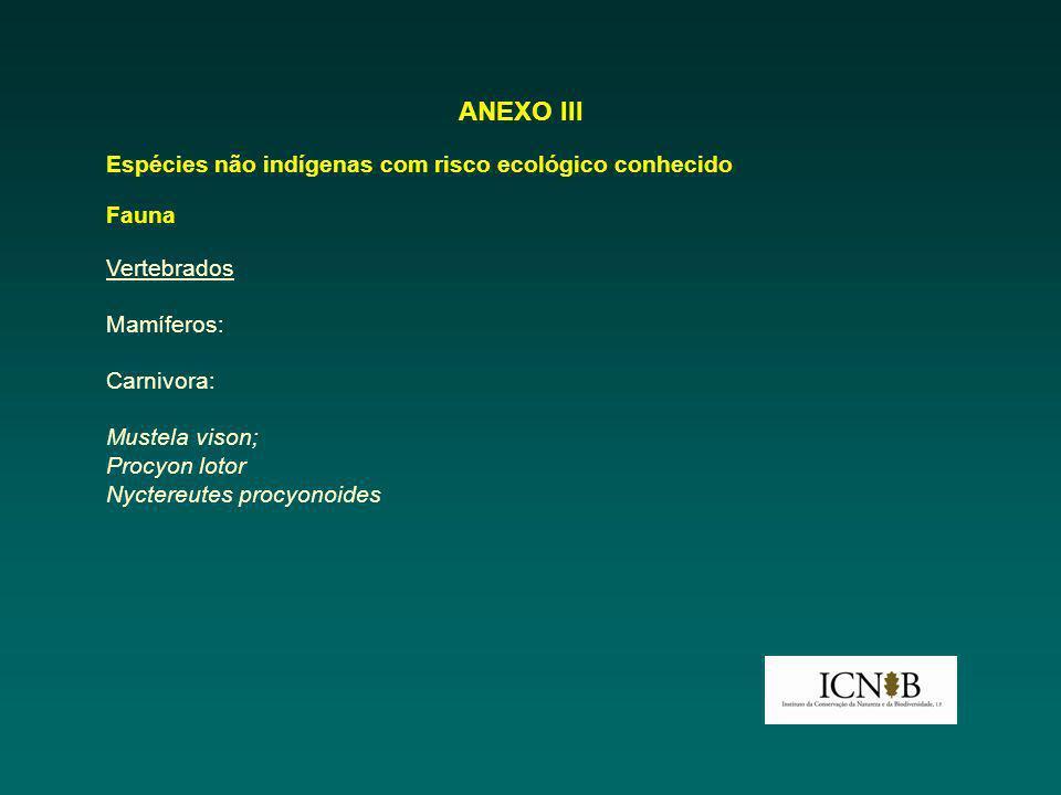 ANEXO III Espécies não indígenas com risco ecológico conhecido Fauna Vertebrados Mamíferos: Carnivora: Mustela vison; Procyon lotor Nyctereutes procyonoides
