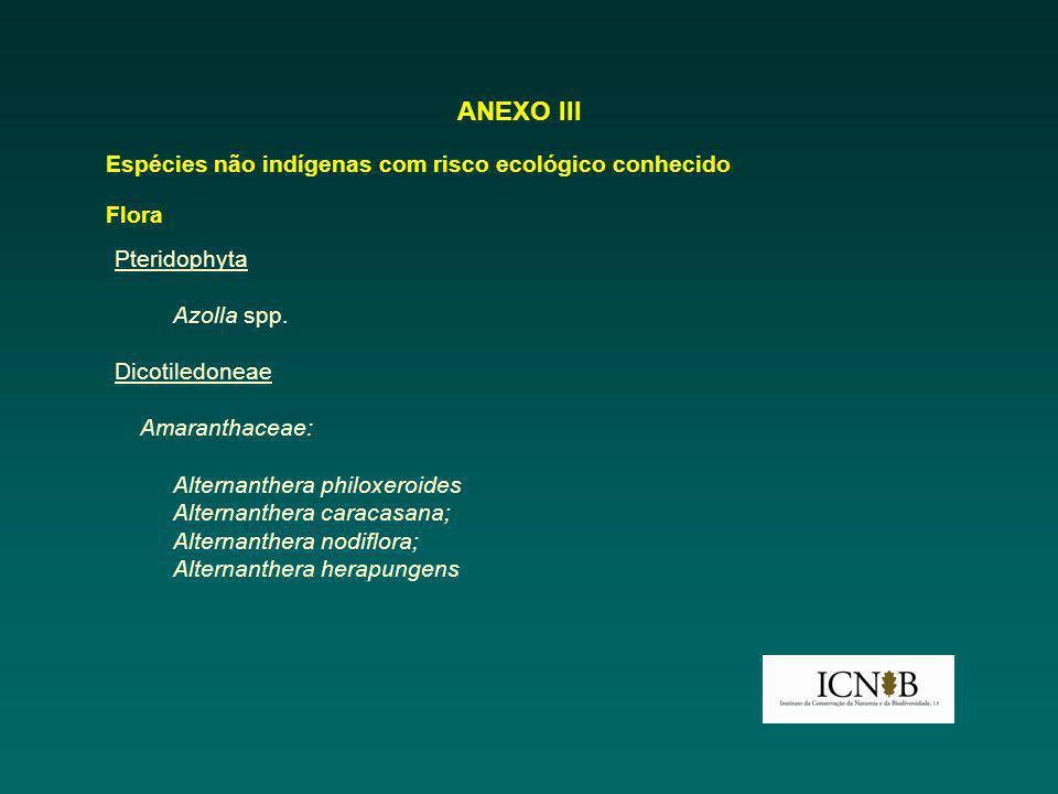 ANEXO III Espécies não indígenas com risco ecológico conhecido Flora Pteridophyta Azolla spp. Dicotiledoneae Amaranthaceae: Alternanthera philoxeroide