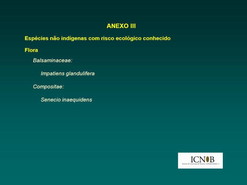 ANEXO III Espécies não indígenas com risco ecológico conhecido Flora Balsaminaceae: Impatiens glandulifera Compositae: Senecio inaequidens