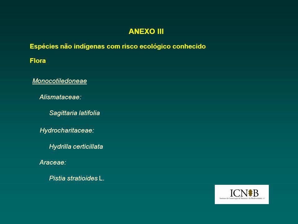 ANEXO III Espécies não indígenas com risco ecológico conhecido Flora Monocotiledoneae Alismataceae: Sagittaria latifolia Hydrocharitaceae: Hydrilla ce